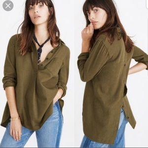 Madewell Olive Flannel Classic Ex-boyfriend Shirt
